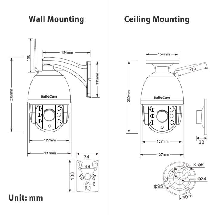 4 inch ptz ip camera - demension