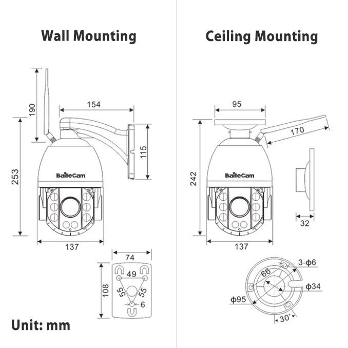 4.5 inch ptz ip camera - dimension